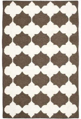 Safavieh Dhurries Handwoven Flatweave Wool Brown/White Area Rug