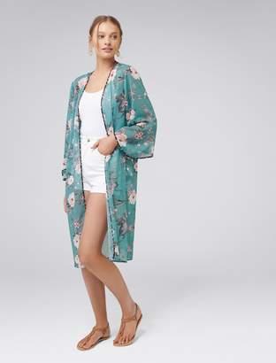 Forever New Kira Kimono - Green Floral - 00