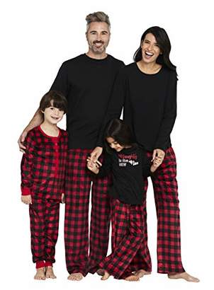 Karen Neuburger Girls' Little Family Matching Christmas Holiday Pajama Sets PJ, Buffalo Plaid red Cherry/Black Combo, Kid XXS