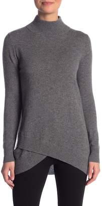 Sofia Cashmere Mock Neck Hi-Lo Tulip Hem Cashmere Sweater