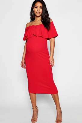 boohoo Maternity Frill Off The Shoulder Midi Dress