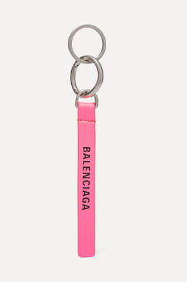 Balenciaga Neon Printed Leather Keychain - Pink