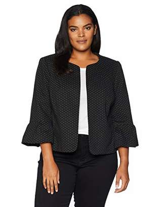 Nine West Women's Plus Size Ruffle Sleeve Knit Kiss Front Jacket