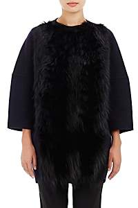 Barneys New York Women's Fur-Front Melton Coat-Navy