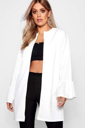 boohoo Plus Nina Scuba Frill Sleeve Blazer