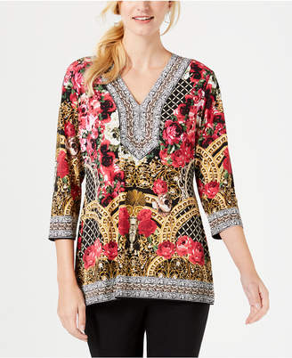 JM Collection Embellished Printed Tunic