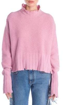 MSGM Destroyed Waffle Knit Sweater