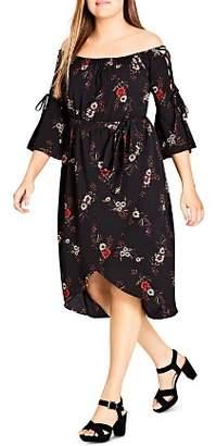 City Chic Plus Floral Off-the-Shoulder Midi Dress