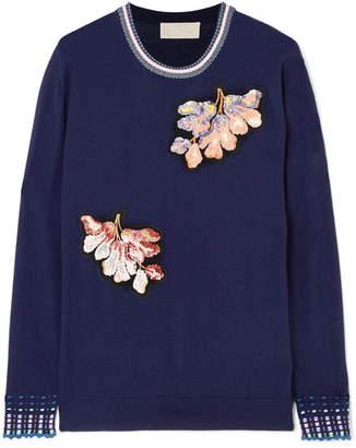 Peter Pilotto Embellished Wool Sweater - Navy