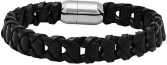 Steel By Design Steel by Design Men's Leather Bracelet w/ Magnetic Clasp