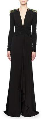 Alexander McQueen Deep-V Long-Sleeve Ruched Jersey Evening Gown w/ Bug Embellishment