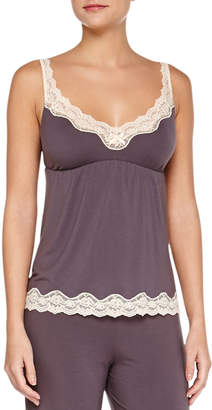 Eberjey Lady Godiva Lace-Trim Lounge Camisole, Pebble/Beige