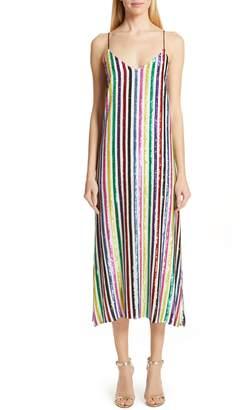 Caroline Constas Sequin Stripe Midi Slipdress