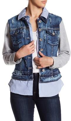 Live A Little Mixed Media Denim Jacket