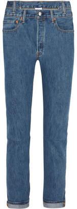 Vetements - Levis High-rise Slim-leg Jeans - Mid denim $1,400 thestylecure.com