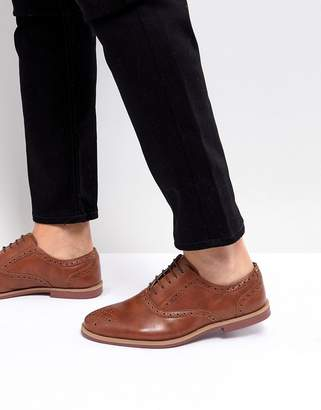 Asos Design Brogue Shoes In Tan Faux Leather With Contrast Sole