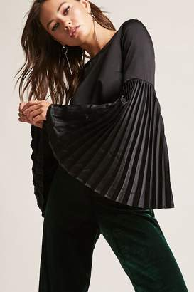 Forever 21 Satin Accordion Bell-Sleeve Top
