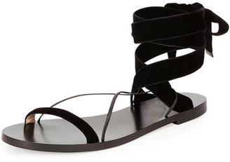 Valentino Velvet Lace-Up Flat Sandal $595 thestylecure.com