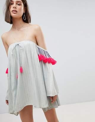 Sundress Bardot Tassle Dress