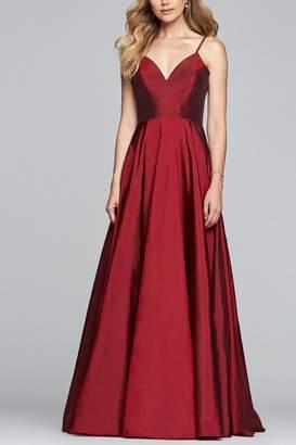 Faviana Long v-neck taffeta ballgown