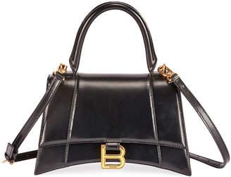 Balenciaga Hour Small Shiny Box Calf Top-Handle Bag