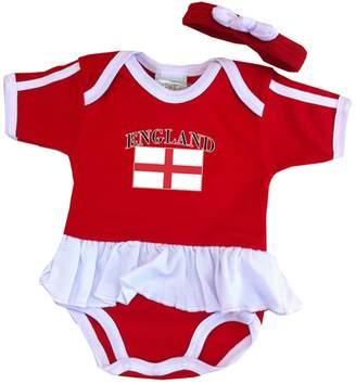 PAM GM England Baby Girl Soccer Ruffle Bodysuit