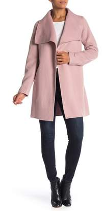 Tahari Shawl Collar Open Front Wool Blend Coat
