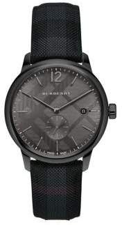 Checkered Charcoal Leather-Strap Watch