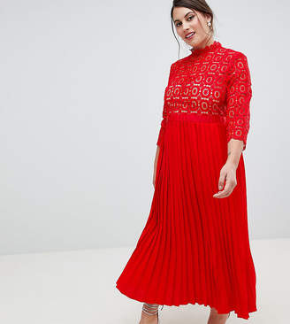 Little Mistress Plus 3/4 Sleeve Lace Top Pleated Midi Dress