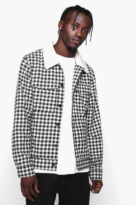 boohoo Borg Collar Check Trucker Jacket