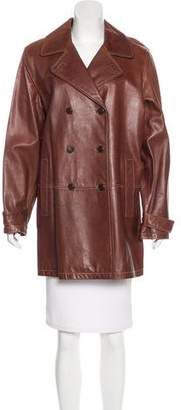 DKNY Leather Knee-Length Coat