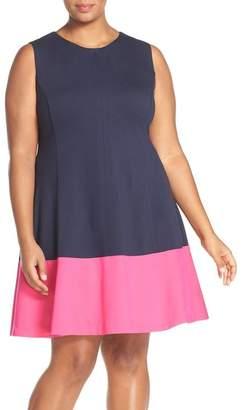 Eliza J Colorblock Hem Fit & Flare (Plus Size)