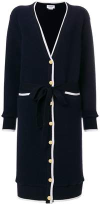 Thom Browne Belted Tipping-Striped Long V-neck Cardigan In Wool Sherpa
