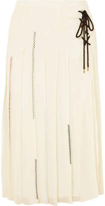 Carven Lace-up Pleated Silk-chiffon Midi Skirt
