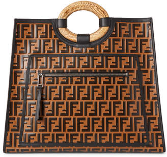 Fendi Tobacco Runaway Shopping Leather Tote
