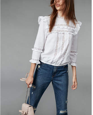 Express Lace Inset Ruffle Top $59.90 thestylecure.com