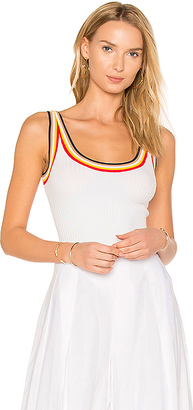 KENDALL + KYLIE KENDALL + KYLIE Rainbow Trim Bodysuit in White $128 thestylecure.com