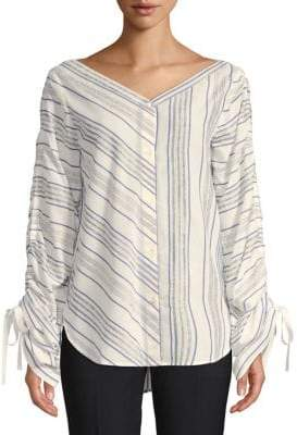 Robert Rodriguez Striped Ruched-Sleeve Shirt