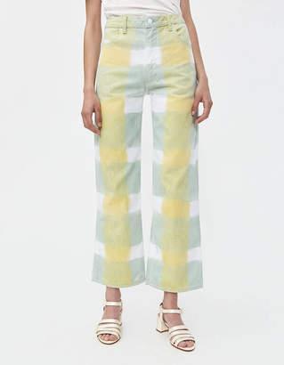 Eckhaus Latta Wide Leg Jean in Yellow Grid