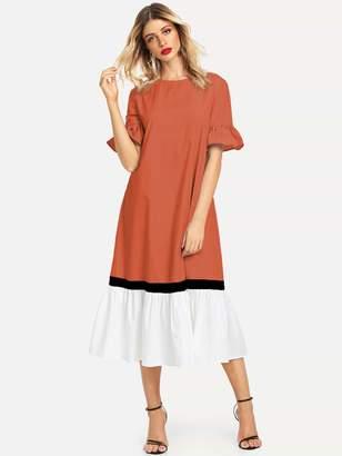 Shein Color-block Flippy Hem Tunic Dress