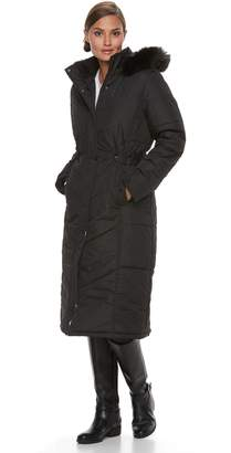 KC Collections Women's Long Hooded Faux-Fur Trim Puffer Jacket
