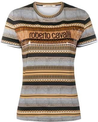 Roberto Cavalli multi print striped top