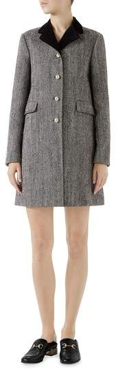 Velvet Collar Wool Blend Coat