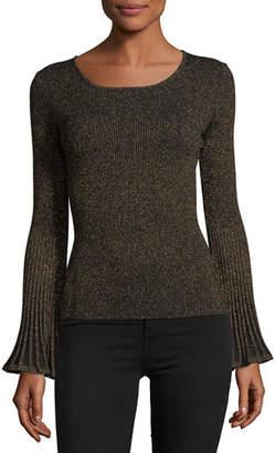 4132ebc76e Milly Flare-Sleeve Ribbed Metallic Sweater