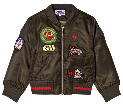 Fabric Flavours Green Star Wars Badge Bomber Jacket
