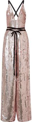 Temperley London Bardot Grosgrain-trimmed Sequined Chiffon Jumpsuit - Pastel pink