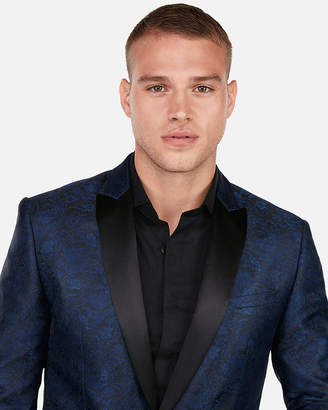 Express Slim Blue Floral Jacquard Peak Lapel Tuxedo Jacket