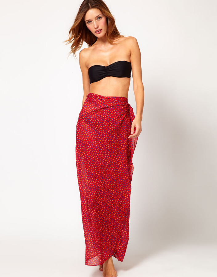 French Connection Ditsy Leaf Beach Sarong