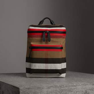 Burberry Zip-top Leather Trim Canvas Check Backpack
