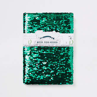 River Island Girls green sequin unicorn note book